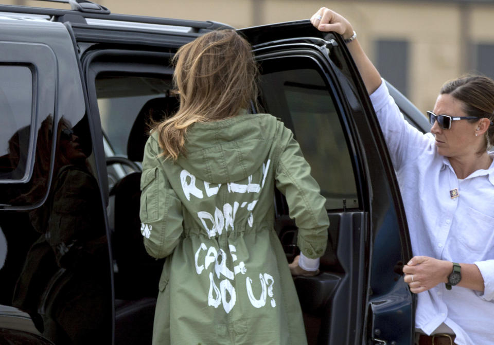 First lady Melania Trump arrives at Andrews Air Force Base, Md., June 21, 2018, after visiting the Upbring New Hope Children's Center in McAllen, Texas. (Photo: AP/Andrew Harnik)