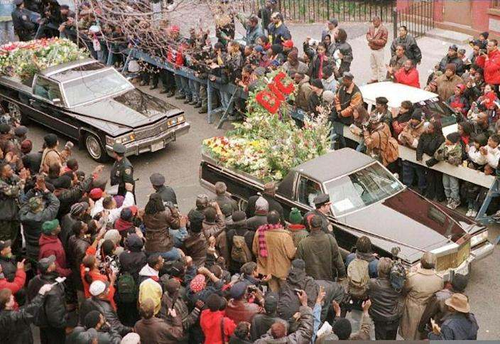 The funeral procession in March 1997 for murdered rapper the Notorious B.I.G. brought thousands of people into the streets of New York