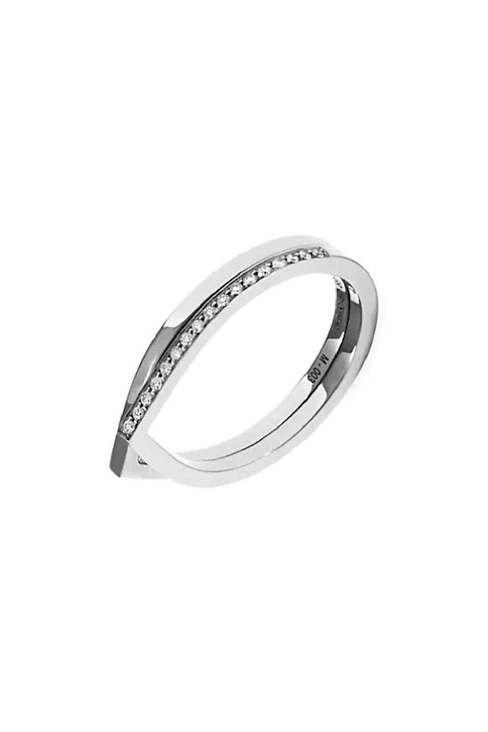 """<p><strong>Repossi</strong></p><p>saksfifthavenue.com</p><p><strong>$2700.00</strong></p><p><a href=""""https://go.redirectingat.com?id=74968X1596630&url=https%3A%2F%2Fwww.saksfifthavenue.com%2Fproduct%2Frepossi-antifer-18k-white-gold--amp--pav%25C3%25A9-diamond-2-row-ring-0400099777521.html%3Fdwvar_0400099777521_color%3DDIAMOND%2BWHITE%2BGOLD&sref=https%3A%2F%2Fwww.townandcountrymag.com%2Fstyle%2Fjewelry-and-watches%2Fg34777744%2Fbest-engagement-rings%2F"""" rel=""""nofollow noopener"""" target=""""_blank"""" data-ylk=""""slk:Shop Now"""" class=""""link rapid-noclick-resp"""">Shop Now</a></p><p>Repossi's subtle two row engagement ring can be paired with another band for a beautiful stack or worn alone.</p>"""