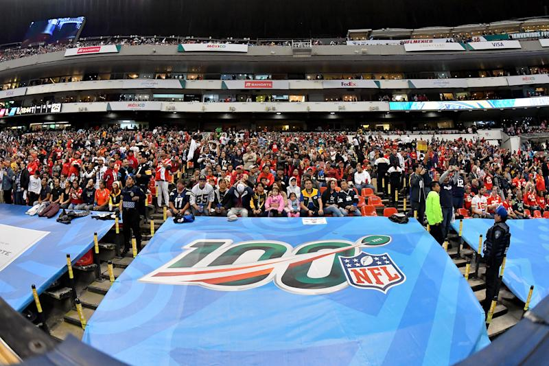 MEXICO CITY, MEXICO - NOVEMBER 18: NFL fans attend an NFL football game between the Los Angeles Chargers and the Kansas City Chiefs on Monday, November 18, 2019, in Mexico City. The Chiefs defeated the Chargers 24-17. (Photo by Alika Jenner/Getty Images)
