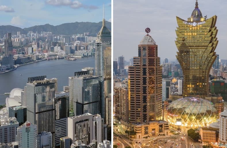 Hong Kong (left) and Macao (right) skylines. (PHOTOS: Getty Images)