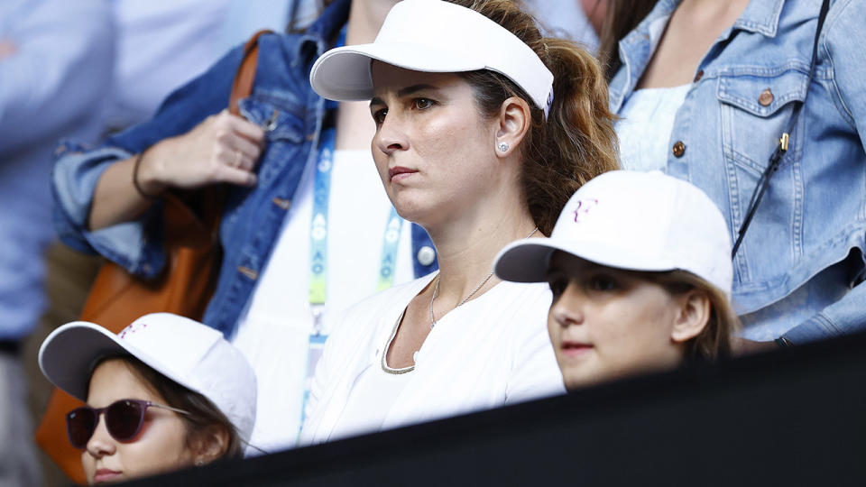 Mirka Federer and her daughters, pictured here watching on during the Australian Open in 2020.