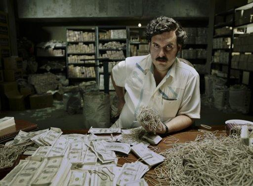 Actor Andres Parra impersonating late Colombian drug lord Pablo Escobar