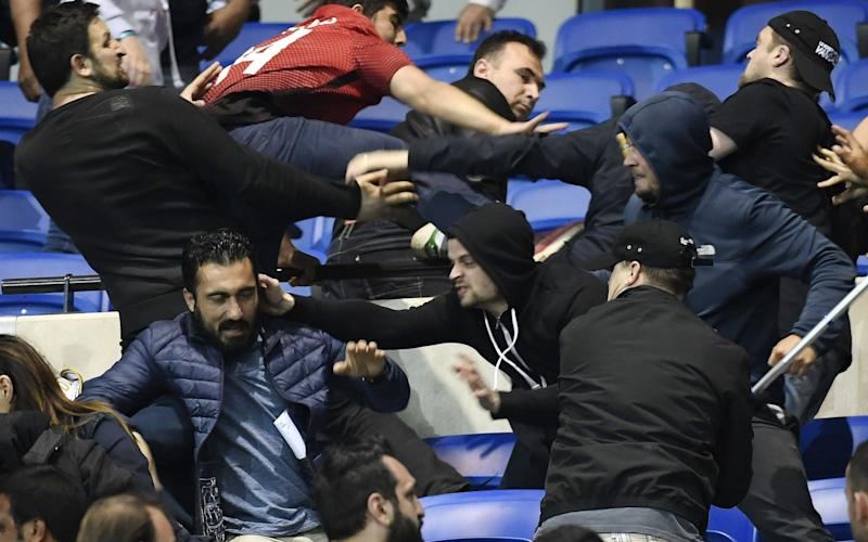 Fan violence in Lyon - Credit: AFP