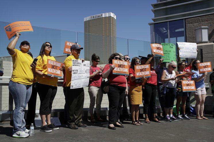 A protest against the health care bill in Las Vegas, Nevada, on June 27, 2017. (Photo: John Locher/AP)