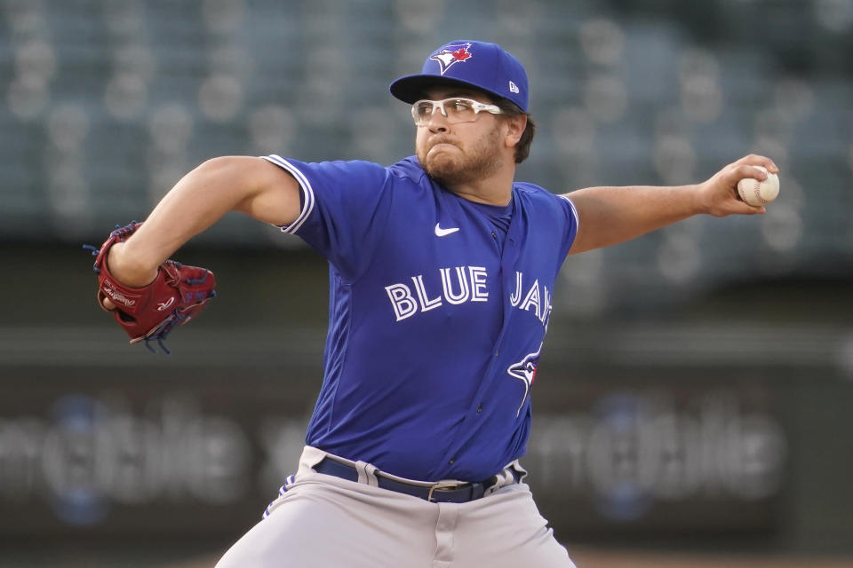 Toronto Blue Jays' Anthony Kay pitches against the Oakland Athletics during the first inning of a baseball game in Oakland, Calif., Tuesday, May 4, 2021. (AP Photo/Jeff Chiu)