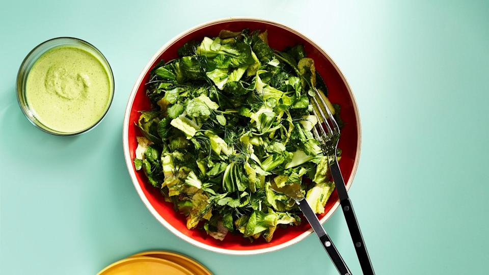 """When he was a kid, one of the few vegetables Lee would eat was romaine lettuce with ranch dressing. (""""To be honest, it was mostly ranch with a touch of lettuce,"""" he says.) With vibrant herbs and peppery watercress, this salad is an update of that childhood favorite. <a href=""""https://www.bonappetit.com/recipe/crunchy-greens-with-fat-choy-ranch?mbid=synd_yahoo_rss"""" rel=""""nofollow noopener"""" target=""""_blank"""" data-ylk=""""slk:See recipe."""" class=""""link rapid-noclick-resp"""">See recipe.</a>"""