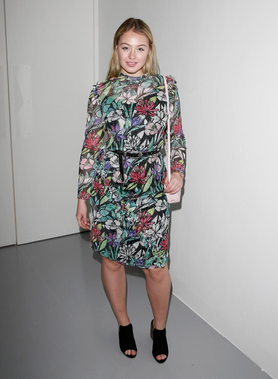 <p>Iskra Lawrence went for a summery floral look. <i>[Photo: Getty]</i> </p>