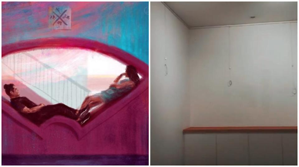 At left, one of Jonathan Lim's works that was exhibited. At right, view of works taken down from the gallery. Photos: @whereartjon/Instagram