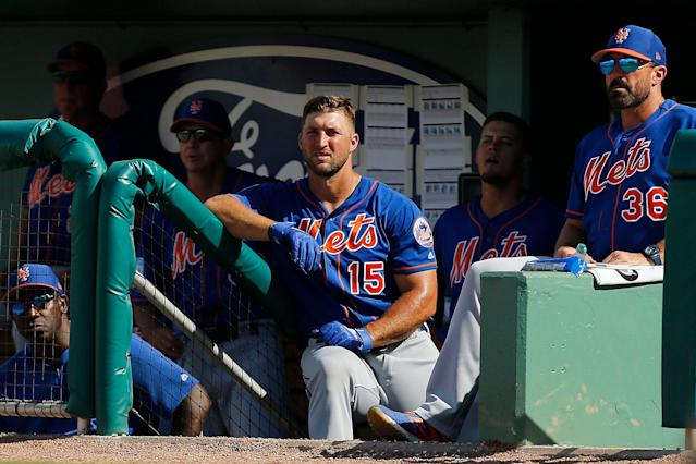 It's been a rough start for Tim Tebow this year. (Photo by Michael Reaves/Getty Images)