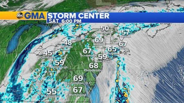 PHOTO: The storms will move off the East Coast by Saturday night. (ABC News)