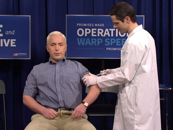 Beck Bennett playing US vice president Mike Pence and Mikey Day playing the doctor who administered him with the coronavirus vaccine ((NBC))