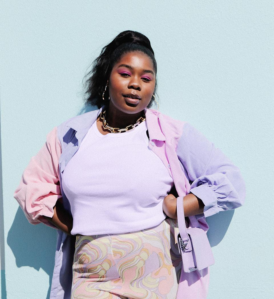 The Plus Size Colorblock Corduroy Shirt Dress (on sale for $49.50, RRP$99) can be worn two ways: buttoned as a dress or open as a jacket. Photo: supplied.