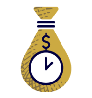 bag of money with a clock icon