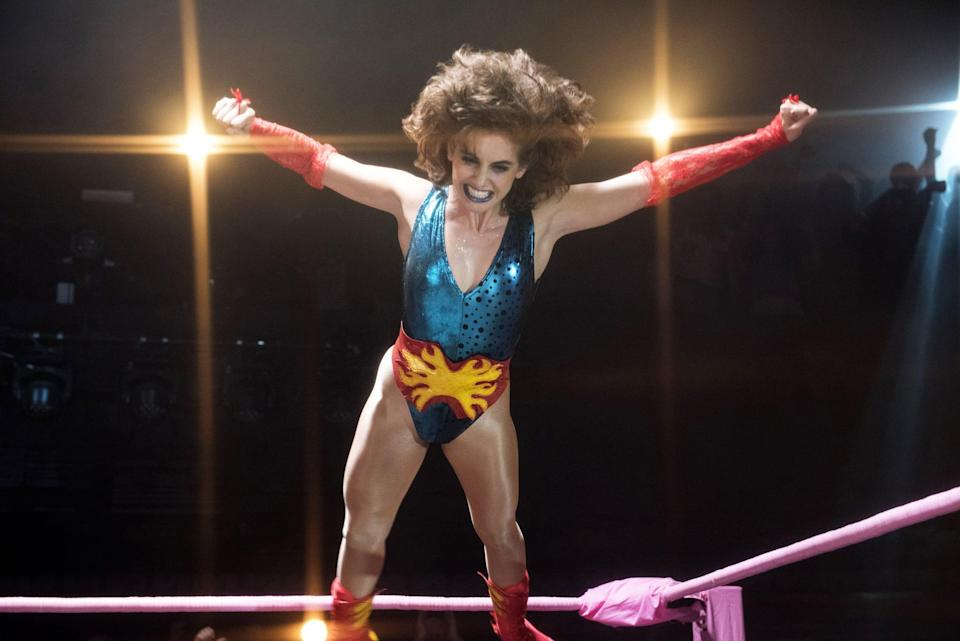 <ul> <li><strong>What to wear:</strong> A metallic blue and red leotard with red arm-warmers. Tease your hair and wear dark lipstick and makeup.</li> </ul>