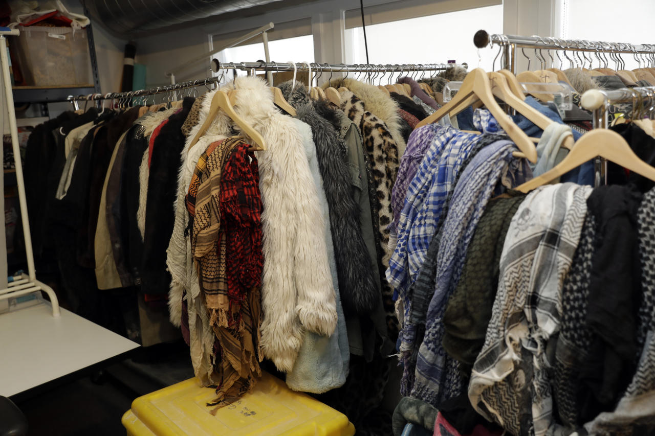 In this Tuesday, Nov. 21, 2017 photo, lost and found items are seen at Burning Man festival's headquarters in San Francisco. Unclaimed items are listed on Burning Man's official website with photos and lot numbers. (AP Photo/Marcio Jose Sanchez)