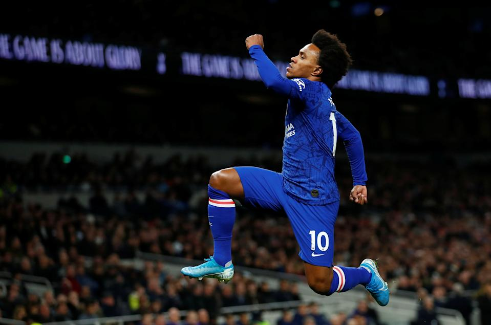 """Soccer Football - Premier League - Tottenham Hotspur v Chelsea - Tottenham Hotspur Stadium, London, Britain - December 22, 2019  Chelsea's Willian celebrates scoring their first goal    REUTERS/Eddie Keogh  EDITORIAL USE ONLY. No use with unauthorized audio, video, data, fixture lists, club/league logos or """"live"""" services. Online in-match use limited to 75 images, no video emulation. No use in betting, games or single club/league/player publications.  Please contact your account representative for further details."""