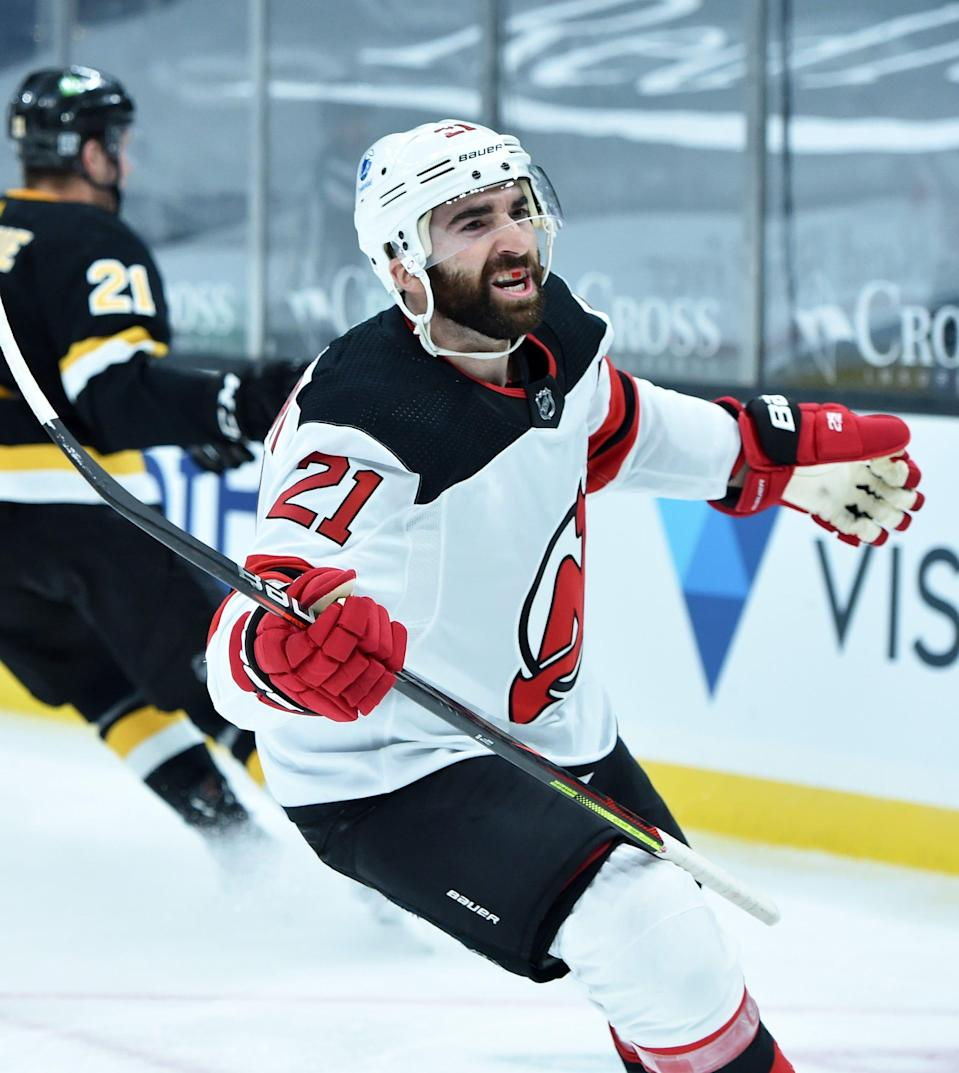New Jersey Devils right wing Kyle Palmieri reacts after scoring a goal during the second period against the Boston Bruins.