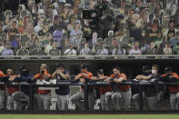 Houston Astros watch the eighth inning in Game 7 of a baseball American League Championship Series against the Tampa Bay Rays, Saturday, Oct. 17, 2020, in San Diego. (AP Photo/Jae C. Hong)