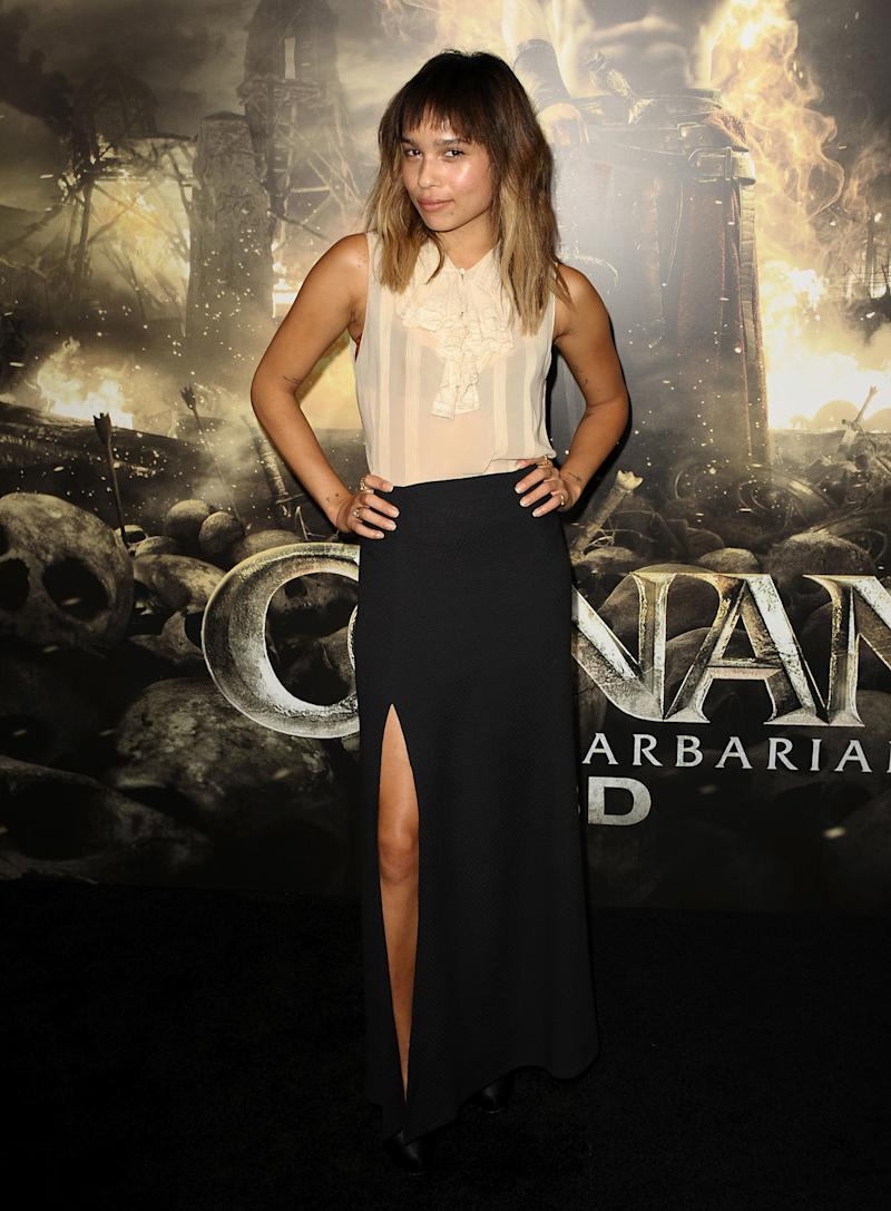 Kravitz attends the premiere of Conan The Barbarian on August 11, 2011.