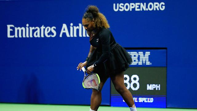 The racquet Serena Williams destroyed at the 2018 US Open is set to fetch a large sum at auction. Pic: Getty