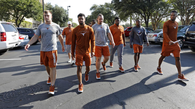 Members of the Texas Longhorns football team walk around the team hotel Saturday Sept. 7, 2019 Austin, Tx. ( Photo by Edward A. Ornelas )
