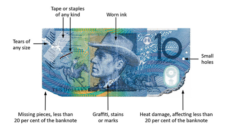 Pictured is a $10 banknote with indications of damage.