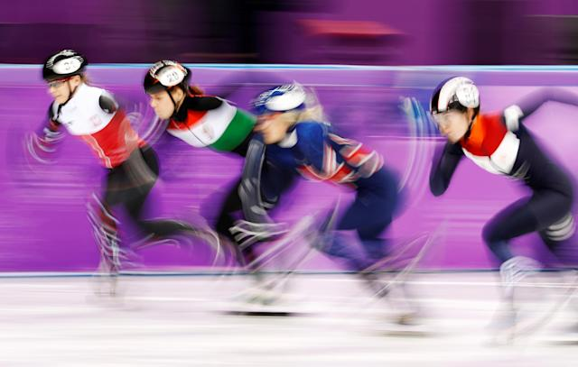"Short Track Speed Skating Events - Pyeongchang 2018 Winter Olympics - Women's 1000m Competition - Gangneung Ice Arena - Gangneung, South Korea - February 20, 2018 - Elise Christie of Britain, Lara van Ruijven of the Netherlands, Magdalena Warakomska of Poland and Andrea Keszler of Hungary in action. REUTERS/Damir Sagolj SEARCH ""OLYMPICS BEST"" FOR ALL PICTURES. TPX IMAGES OF THE DAY."