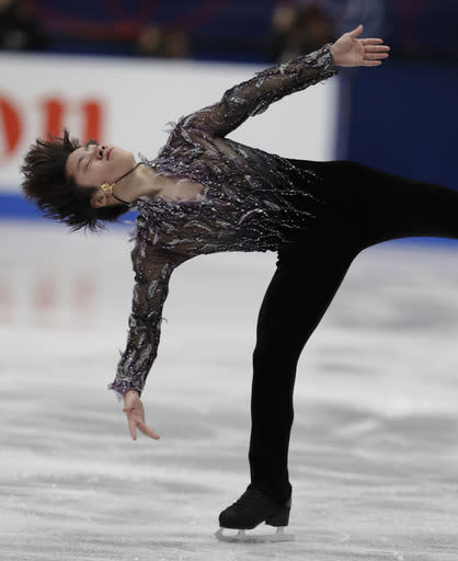 Shoma Uno of Japan performs during mens's short program at the Figure Skating World Championships in Assago, near Milan, Thursday, March 22, 2018. (AP Photo/Luca Bruno)