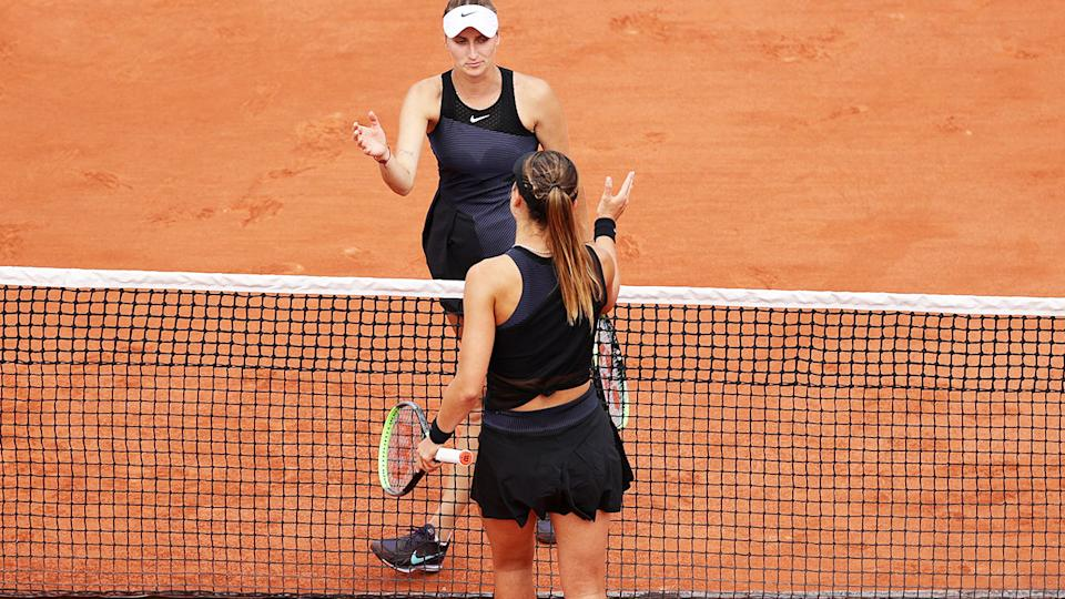 Paula Badosa, pictured here after beating Marketa Vondrousova at the French Open.