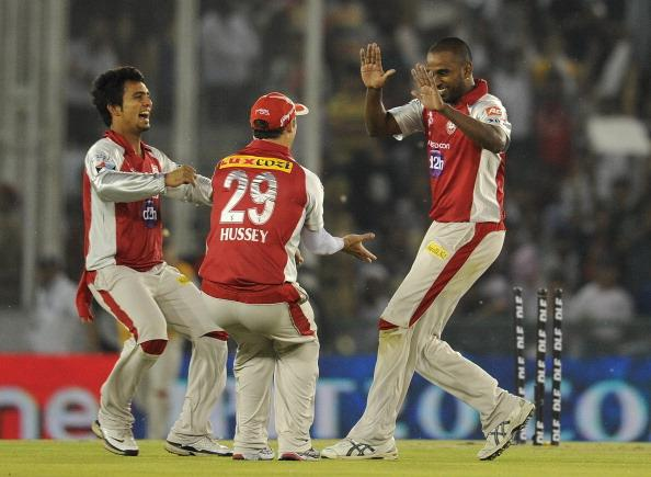 Kings XI Punjab bowler Dimitri Mascarenh : News Photo