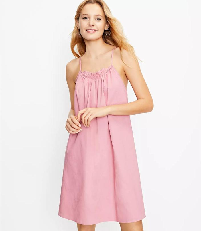 <p>This <span>Loft Tie Back Swing Dress</span> ($40 with code WOW, originally $90) is endlessly wearable, so you'll find yourself styling it for every occasion. It's the perfect cami dress with the relaxed fit and flattering scoop neck.</p>