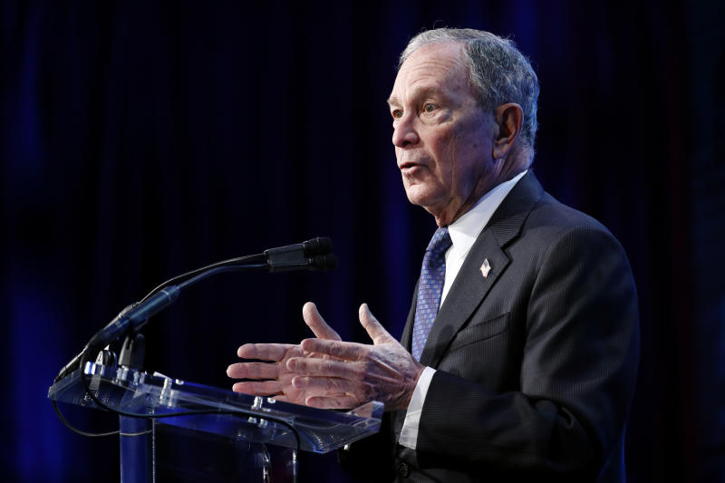 Democratic presidential candidate former New York City Mayor Michael Bloomberg speaks at the U.S. Conference of Mayors' Winter Meeting, Wednesday, Jan. 22, 2020, in Washington. (AP Photo/Patrick Semansky)