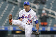 New York Mets relief pitcher Edwin Diaz reacts after striking out Arizona Diamondbacks' Daulton Varsho for the final out of a baseball game, Sunday, May 9, 2021, in New York. (AP Photo/Kathy Willens)