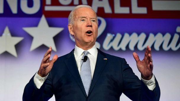 PHOTO: Former Vice President and Democratic presidential hopeful Joe Biden speaks at the SEIU Unions for All Summit in Los Angeles, Oct. 4, 2019. (Frederic J. Brown/AFP/Getty Images, FILE)
