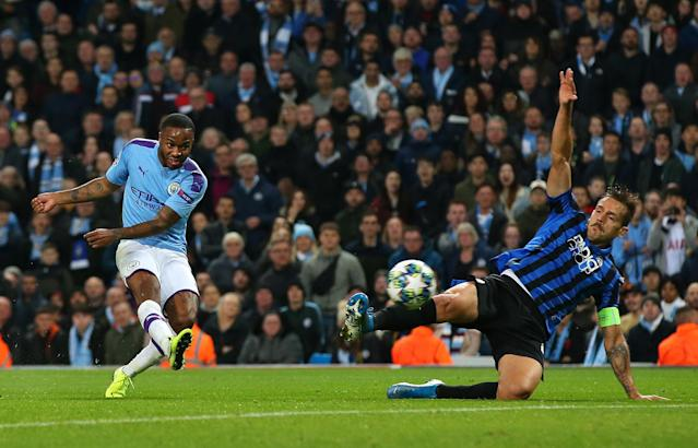 Raheem Sterling had a hat trick as Manchester City thumped Atalanta in the Champions League. (Getty)