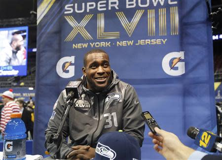Seattle Seahawks strong safety Kam Chancellor answers reporters' questions during Media Day for Super Bowl XLVIII at the Prudential Center in Newark, New Jersey January 28, 2014. REUTERS/Shannon Stapleton