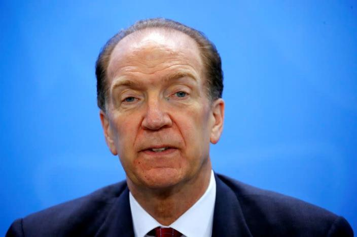 FILE PHOTO: World Bank Group President Malpass attends news conference after meeting at Chancellery in Berlin
