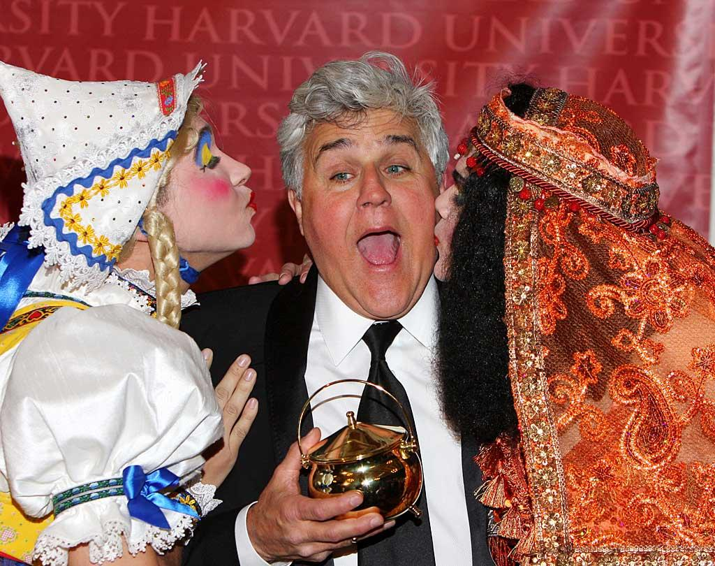 "Heading over to late night rival Conan O'Brien's old stomping grounds, Jay Leno was honored as Harvard University's Hasty Pudding 2011 Man of the Year for having ""entertained millions of people over his long and accomplished career in comedy,"" according to the Harvard crew. Pucker up! <a href=""http://www.splashnewsonline.com"" target=""new"">Splash News</a> - February 4, 2011"