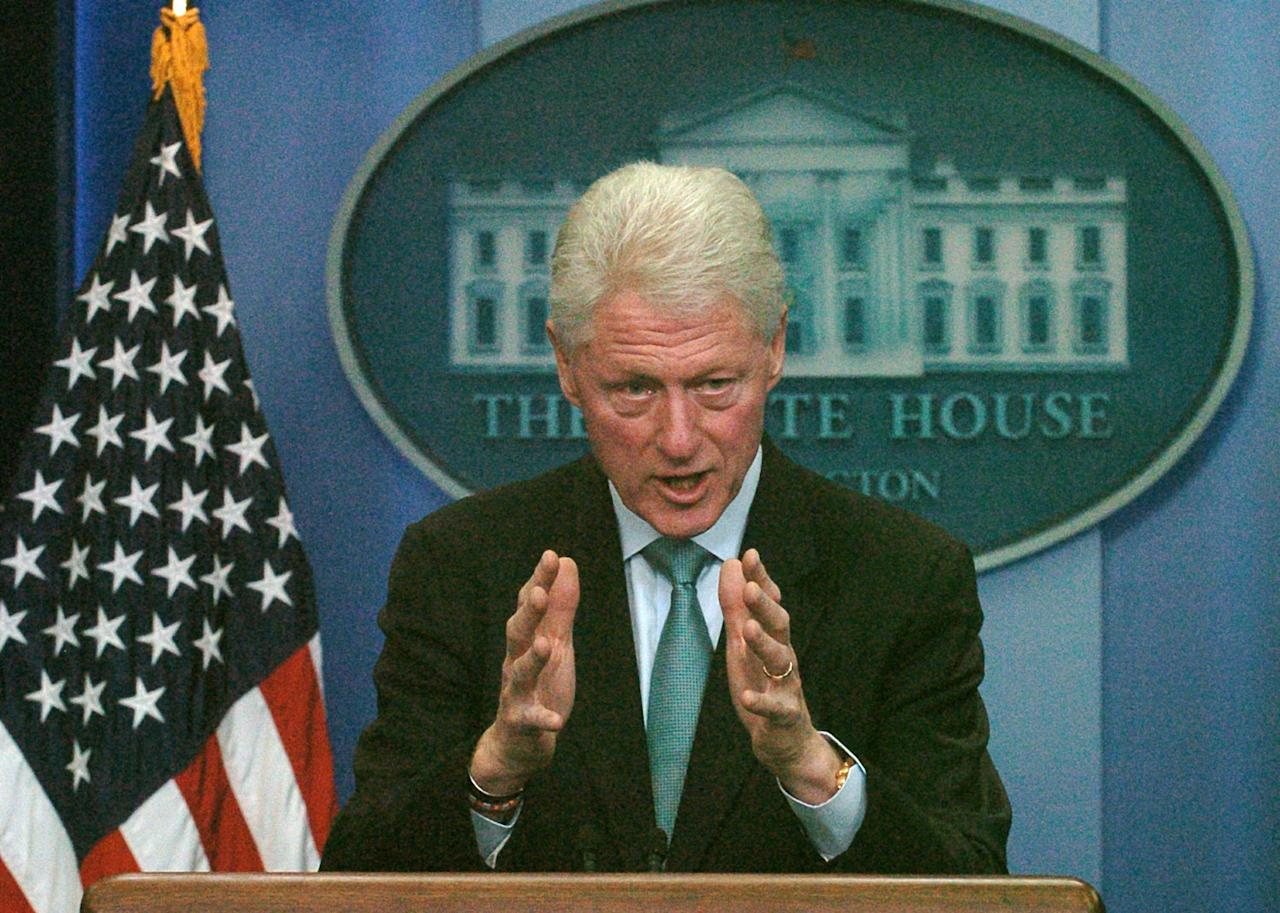 WASHINGTON, DC - DECEMBER 10:  Former U.S. President Bill Clinton speaks to reporters during a news conference with U.S. President Barack Obama in the White House Briefing Room December 10, 2010 Washington, DC. Clinton urged Democrats to stand behind Obama's tax-cut deal.  (Photo by Bill Auth-Pool/Getty Images)