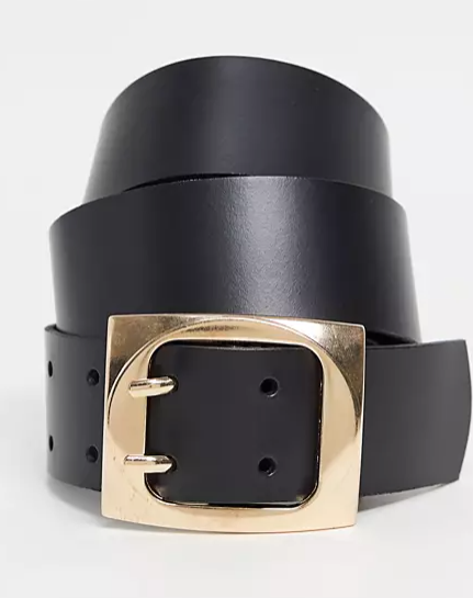 ASOS DESIGN leather double prong belt in black, $28. Photo: ASOS.