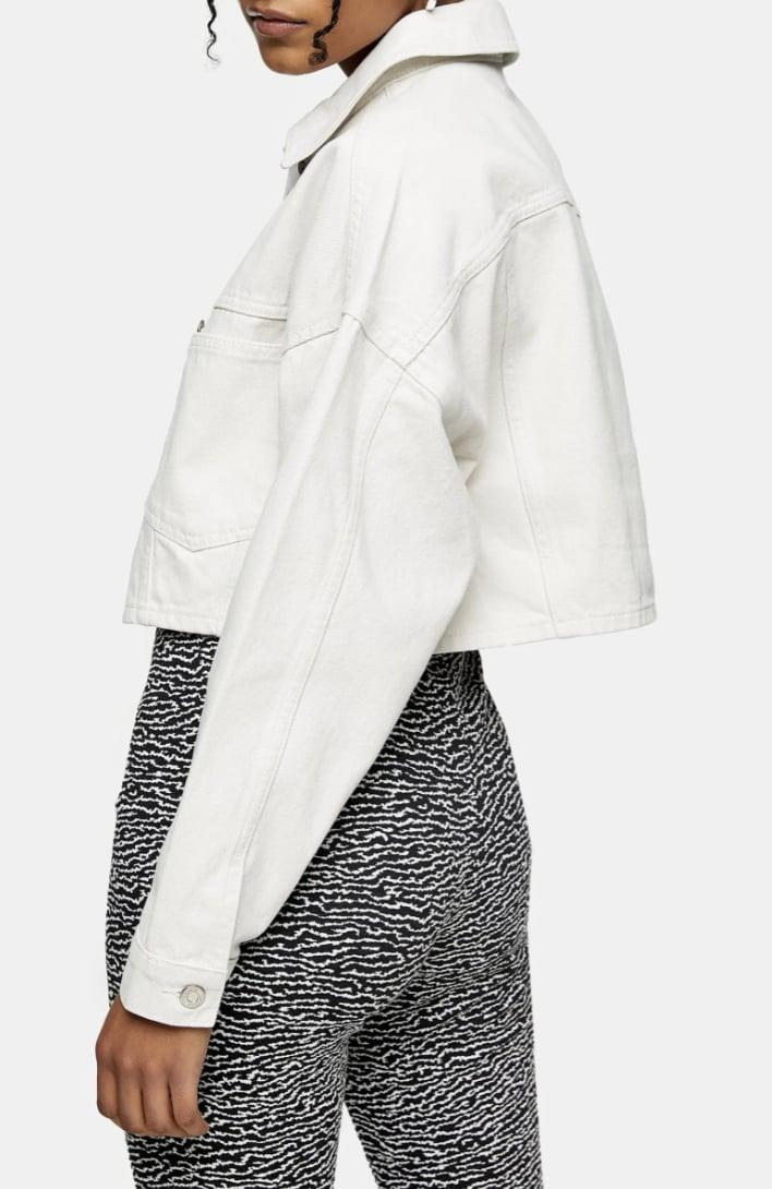 <p>Nothing screams spring quite like this white <span>Topshop Crop Denim Jacket</span> ($68).</p>