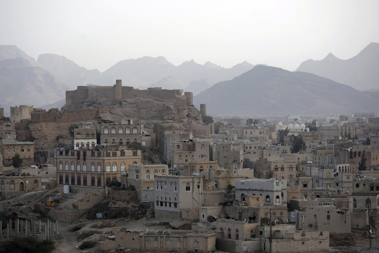 A general view of Radaa city, south east of Sanaa, Yemen, Sunday, Jan. 15, 2012. For the past two days, around 200 al-Qaida militants have been occupying a 500-year-old mosque and school and their surroundings in the central province of Bayda. On Friday the militants overran the building, which has not been in use for years. The site was a tourist attraction in the town of Radda. (AP Photo/Hani Mohammed)