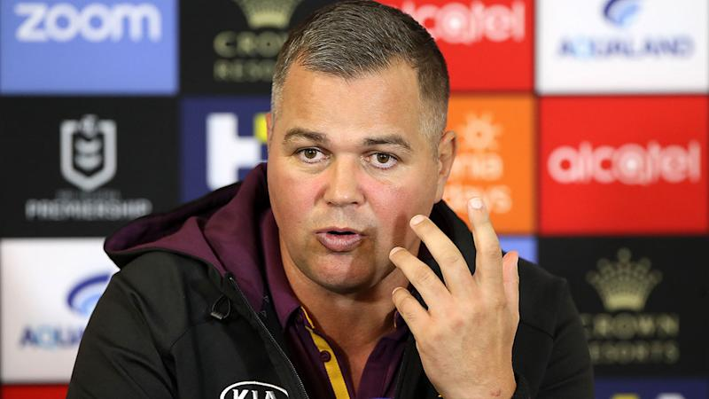Seen here, Broncos coach Anthony Seibold at an NRL press conference.