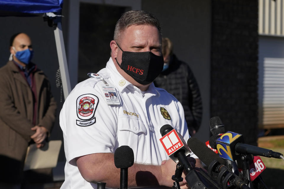Hall County Fire Services Zach Brackett speaks at a news conference following a liquid nitrogen leak that killed six people at Prime Pak Foods, a poultry plant, on Thursday, Jan. 28, 2021, in Gainesville, Ga. (AP Photo/John Bazemore)