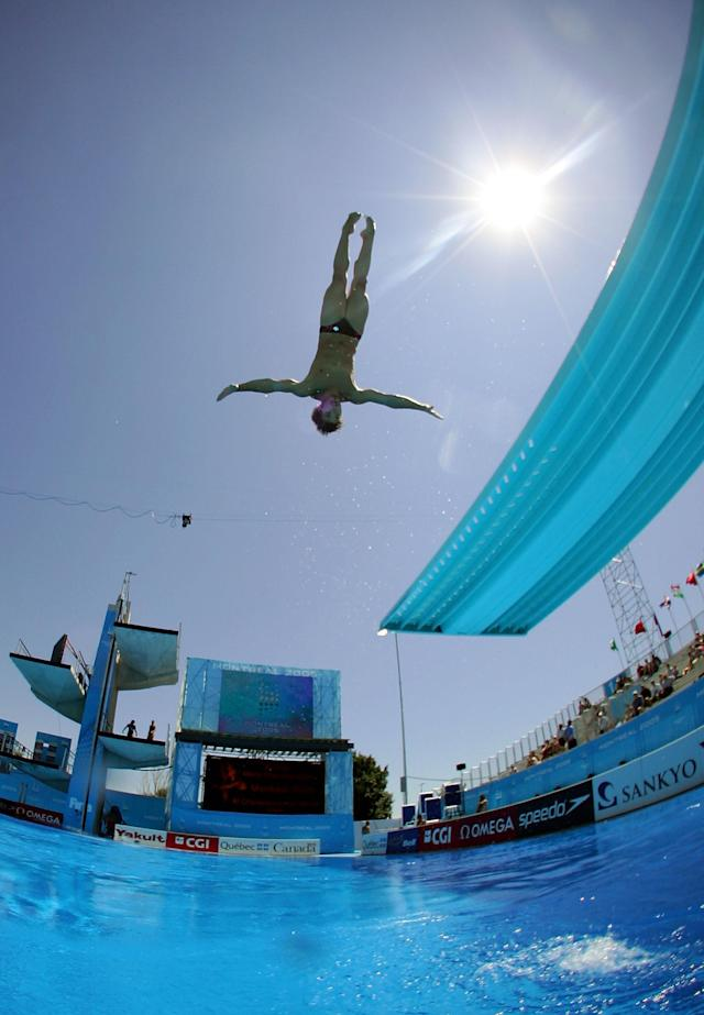 MONTREAL - JULY 21: Alexandre Despatie of Canada practices for the men's one meter springboard semi-final round during the XI FINA World Championships at the Parc Jean-Drapeau on July 21, 2005 in Montreal, Quebec, Canada. (Photo by Alexander Hassenstein/Bongarts/Getty Images)