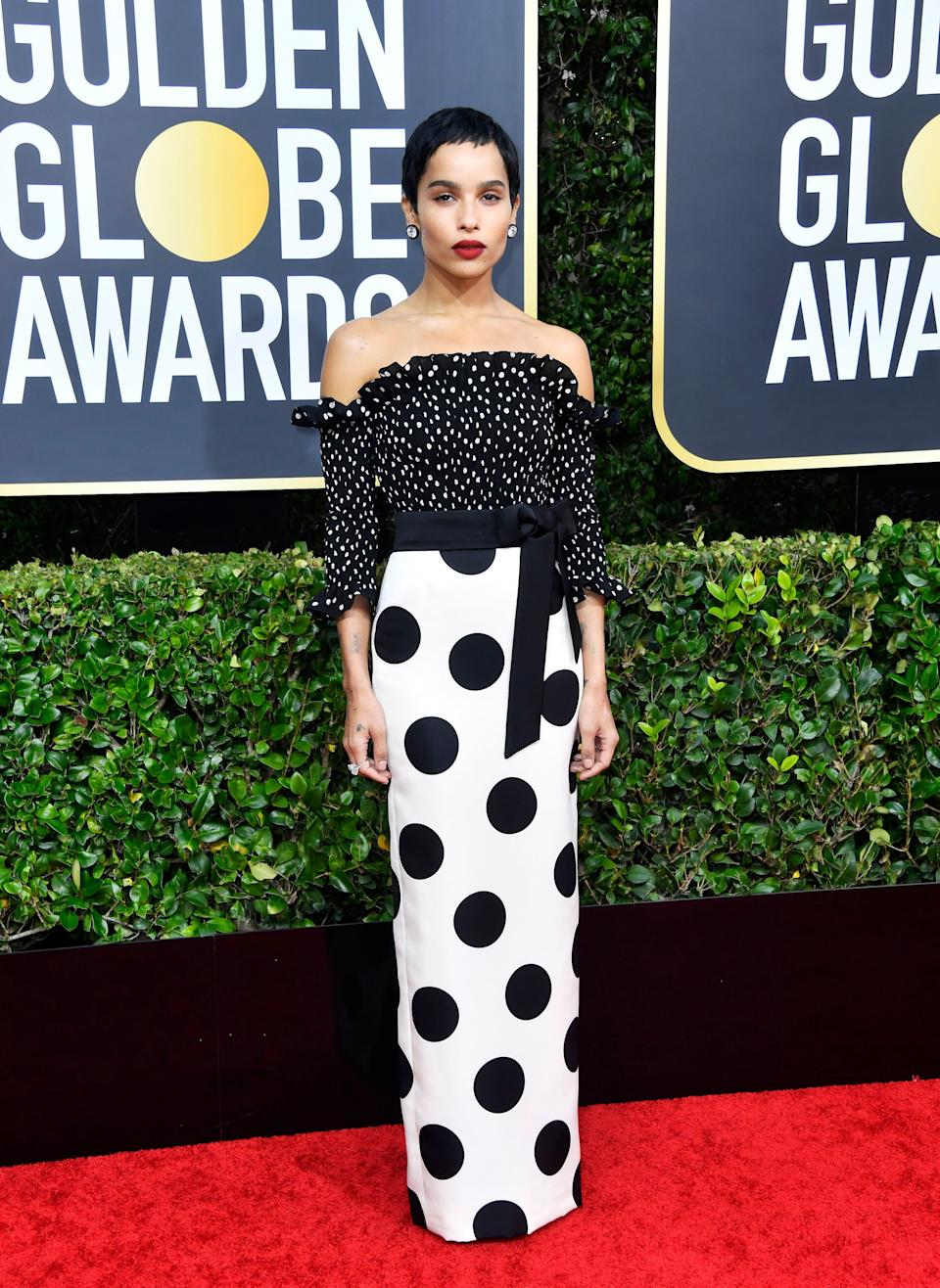 On anyone else, this would be overkill. But Zoë Kravitz pulls it off.