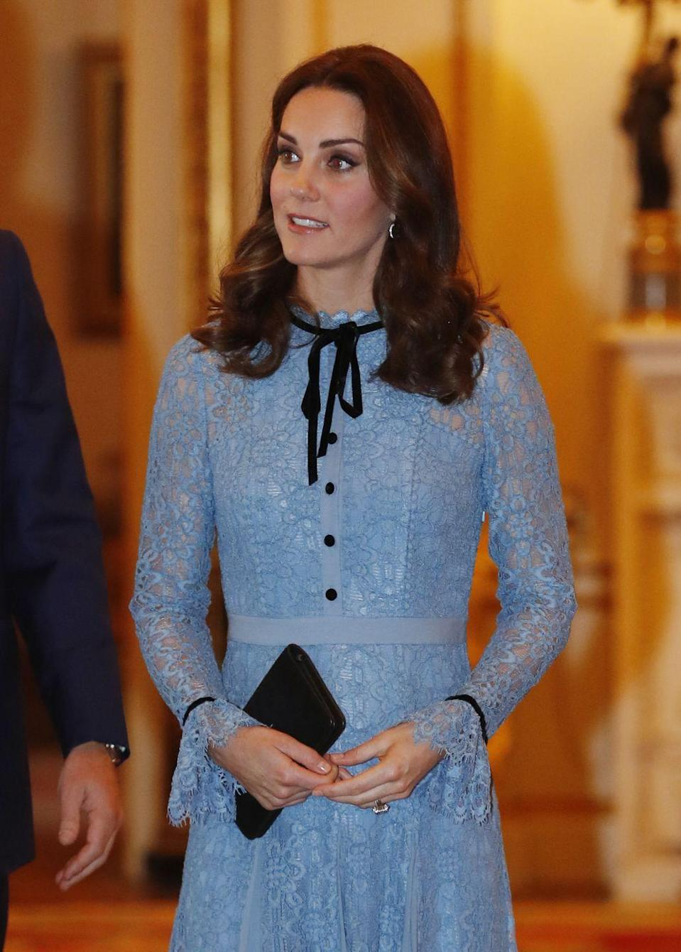 <p>Kate totally channeled Blair Waldorf with this look, no? Kate wore this dress to Buckingham Palace to celebrate World Mental Health Day.</p>