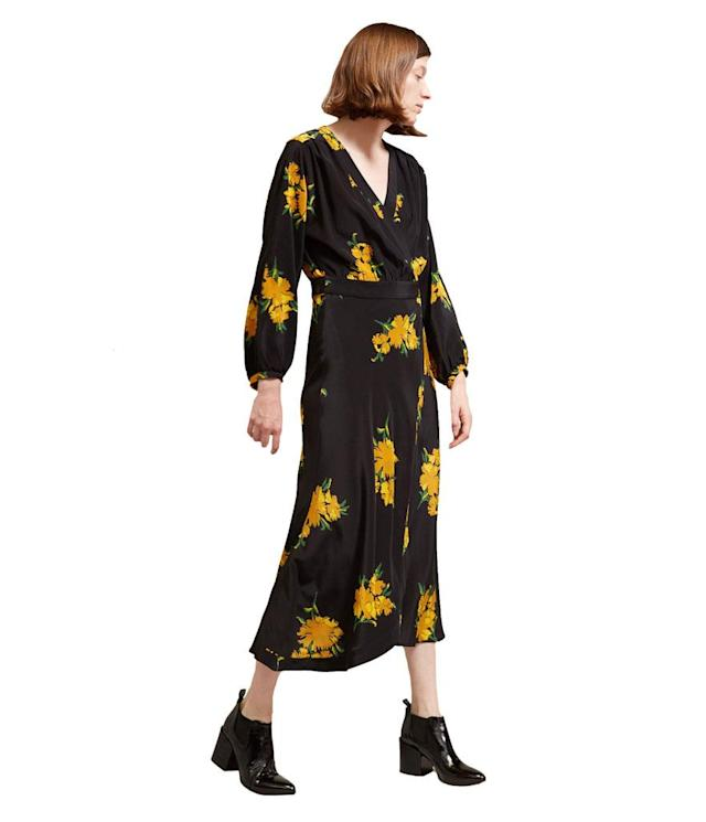 "<p>No. 6 Berta Wrap Dress in Golden Winter Floral, $495, <a href=""https://no6store.com/collections/dresses/products/no-6-berta-wrap-dress-in-golden-winter-floral?page=1"" rel=""nofollow noopener"" target=""_blank"" data-ylk=""slk:no6store.com."" class=""link rapid-noclick-resp"">no6store.com.</a> </p>"