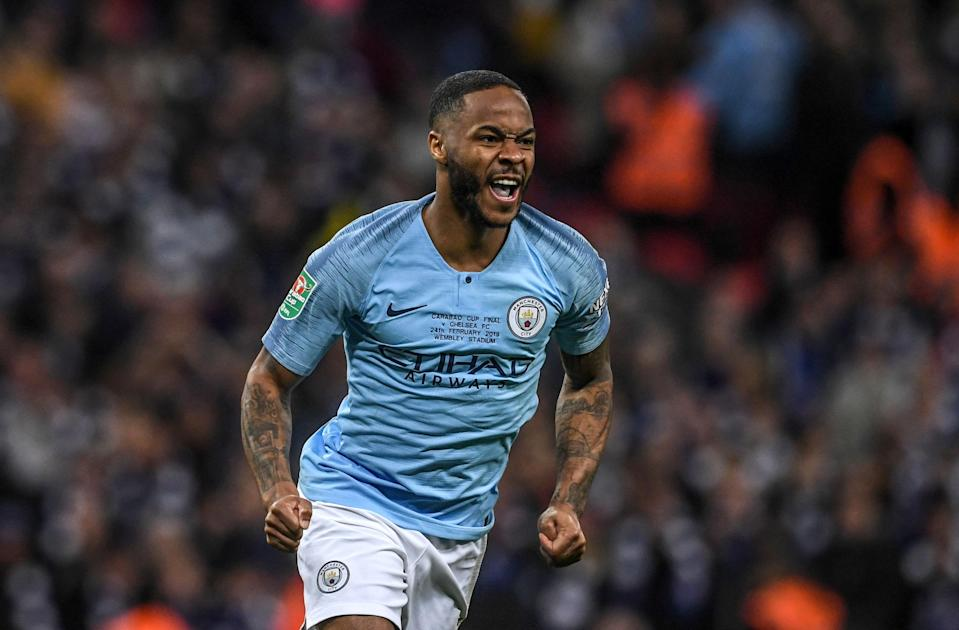 Raheem Sterling celebrates after his winning penalty against Chelsea in the League Cup final at Wembley Stadium. (EFE)